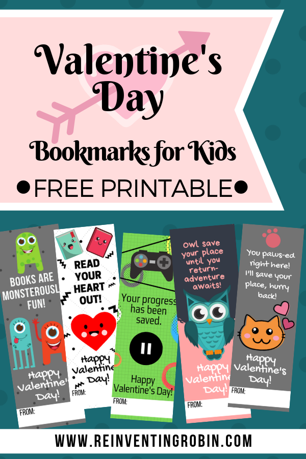 School Valentine's Day Bookmarks for Kids Free Printable