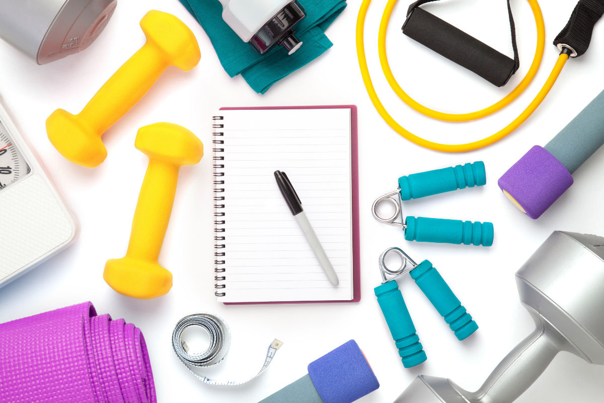 A collage of exercise equipment to help you get in shape!