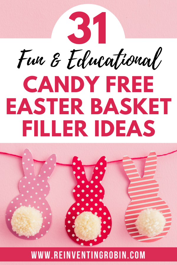 31 Fun & Educational Candy Free Easter Basket Filler Ideas and paper bunnies with pom pom tails.