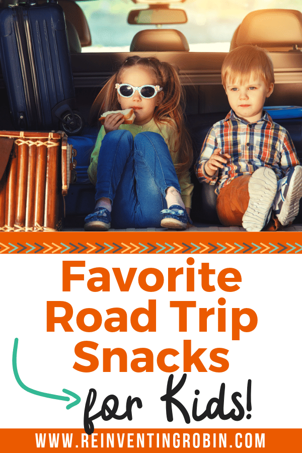 Two kids in the back of a van eating. Text stating Favorite Road Trip Snacks for Kids!
