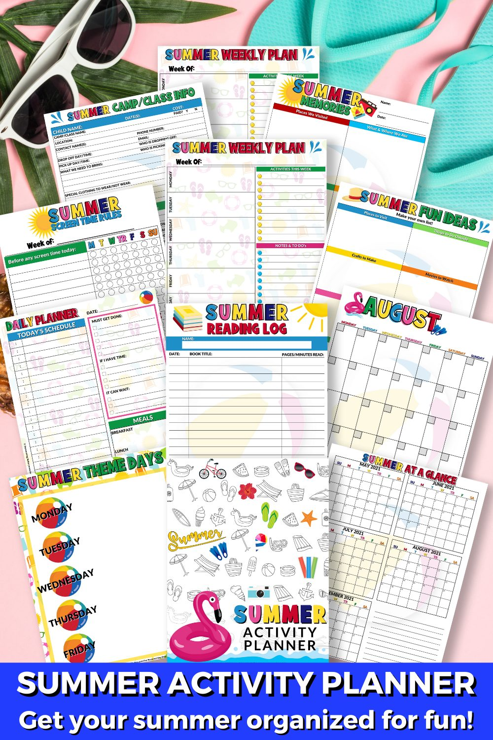 Pages of the printable Summer Activity Planner with the words Get your summer organized for fun!