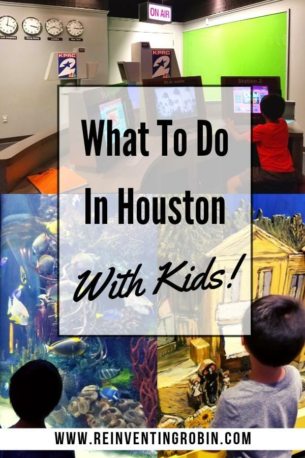 3 pictures of a child having fun at different places in Houston. Text states What To Do In Houston With Kids!