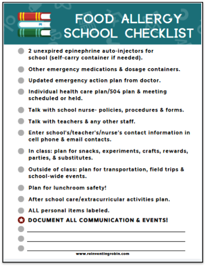 Food Allergy School Checklist listing what is on the blog post.