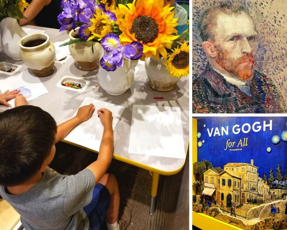 Picture collage of Van Gogh exhibit at Museum of Fine Arts Houston.