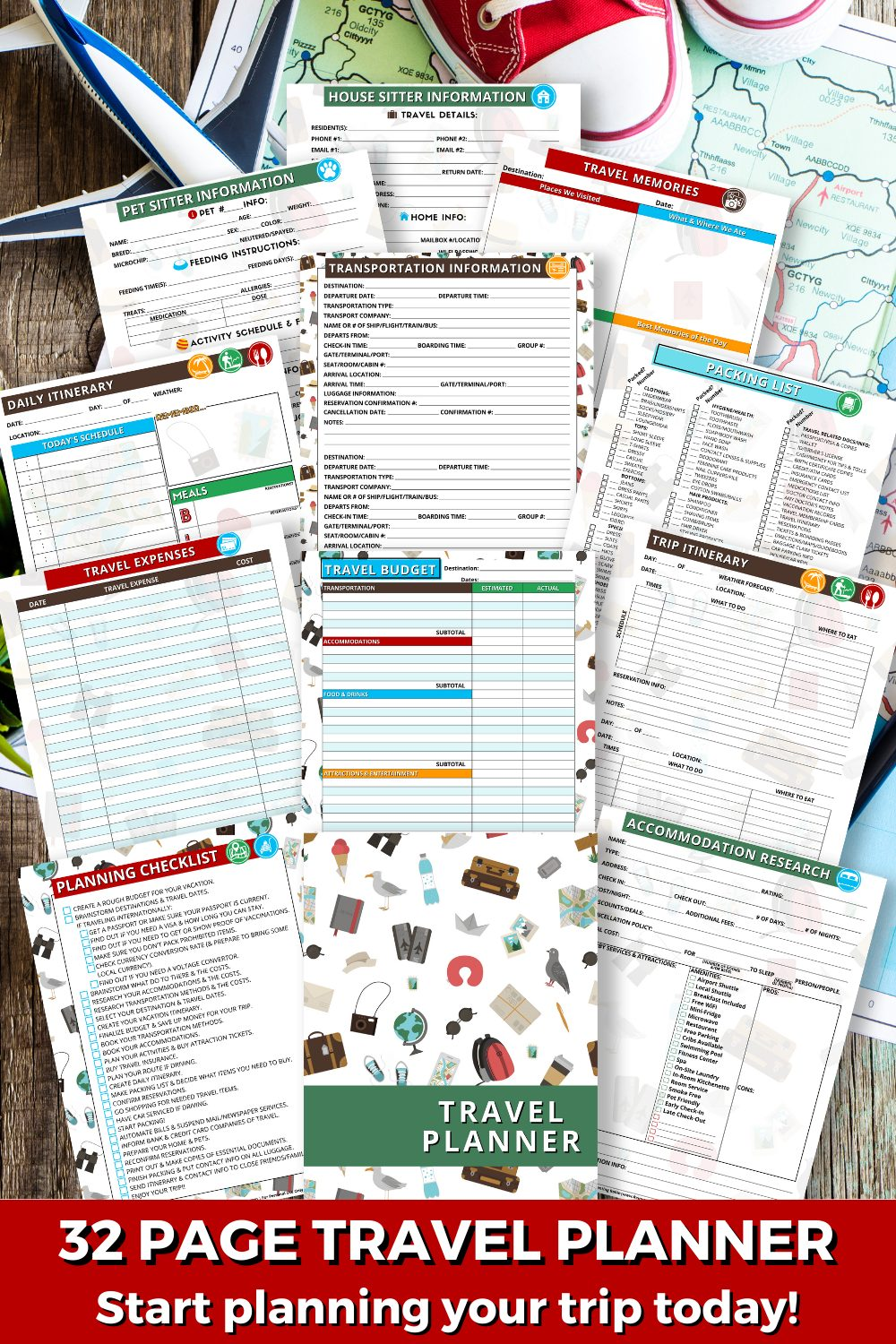 Travel Planner Printable pages are shown with the words 32 Page Travel Planner- Start planning your trip today!