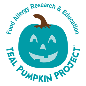 Drawing of a pumpkin colored teal. Text stating: Food Allergy Research & Education. Teal Pumpkin Project.