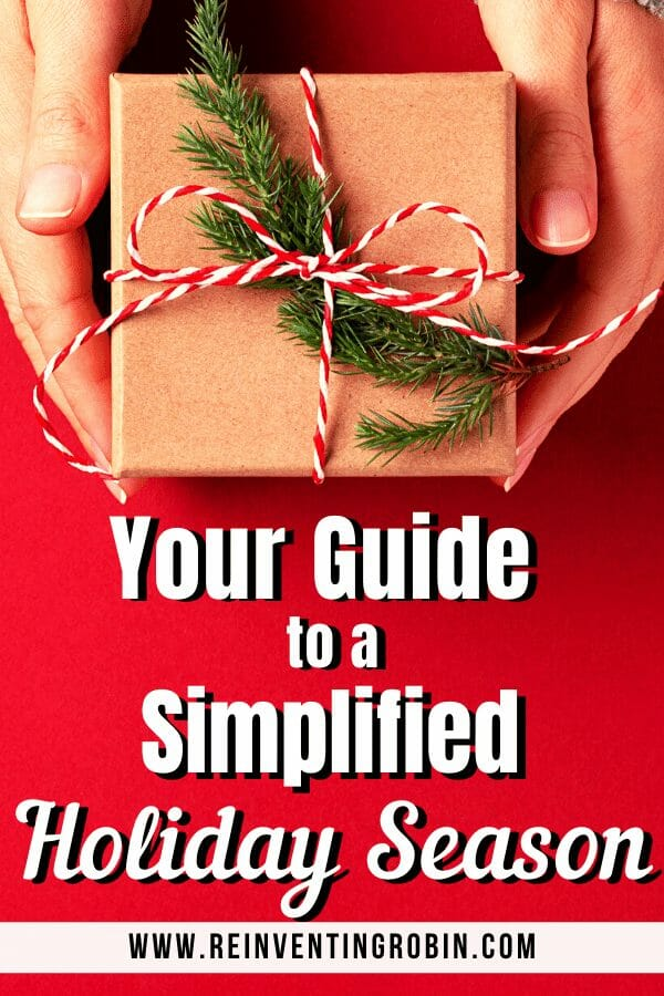 Hands holding a present. Text says Your Guide to a Simplified Holiday Season.