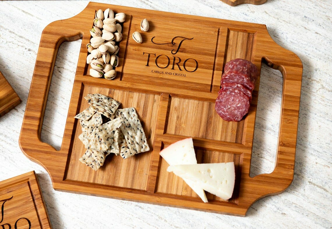 Personalized Charcuterie board with food on it.