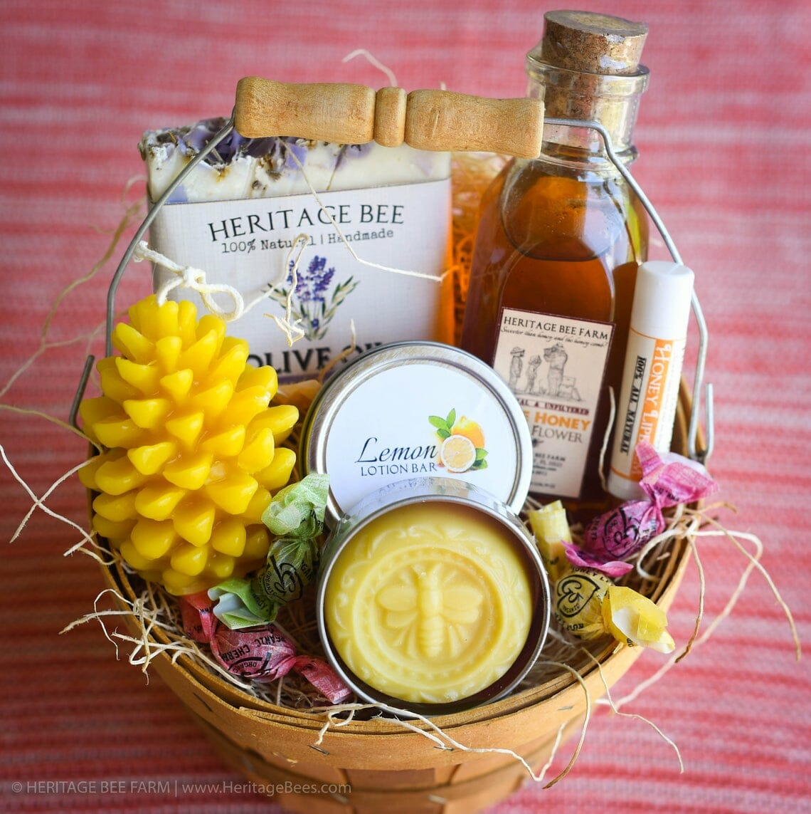 Gift basket of bee-related self-care gifts.