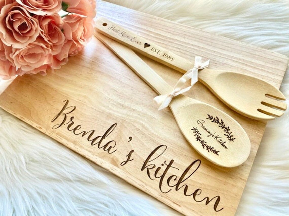 Personalized Wooden Spoon, Spork & Cutting Board Set