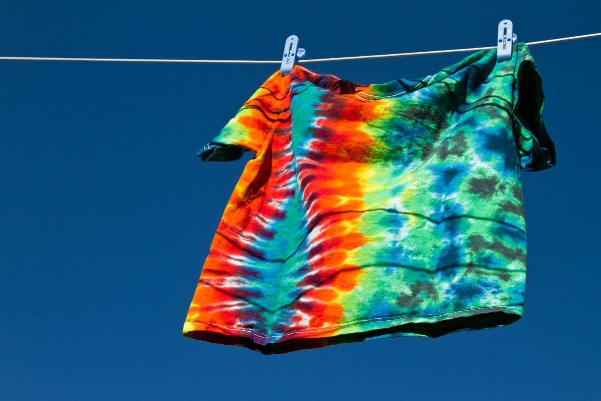 Tie dye shirt waving in the wind.
