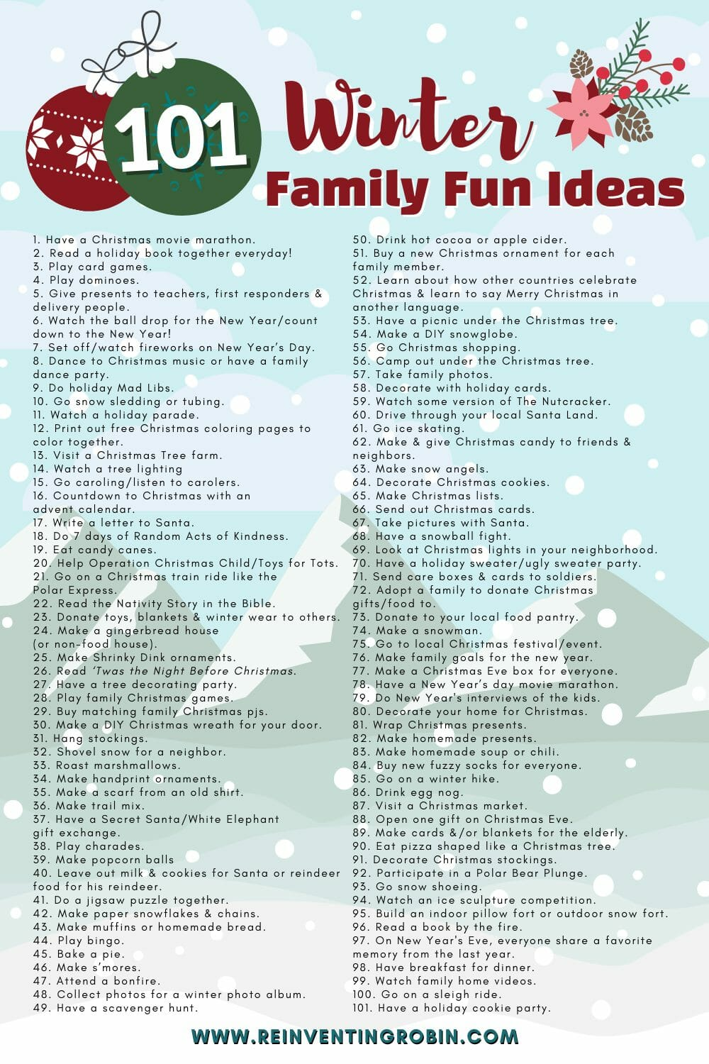 101 Winter Family Fun Ideas www.reinventingrobin.com