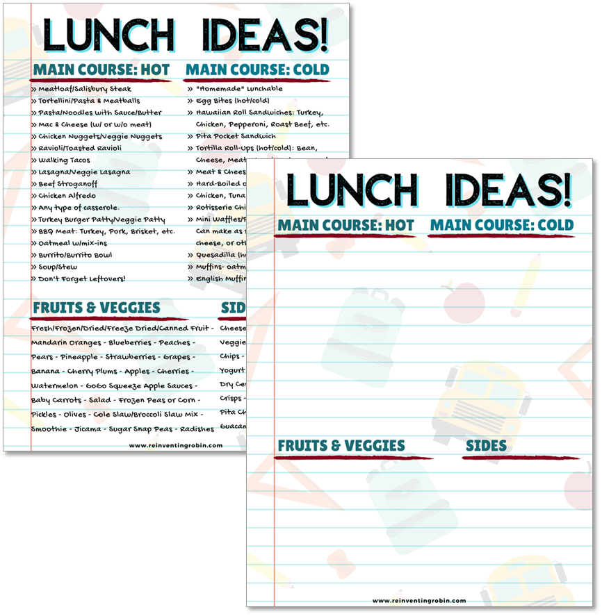 Two FREE school lunch ideas pages shown, one blank for you to fill in.