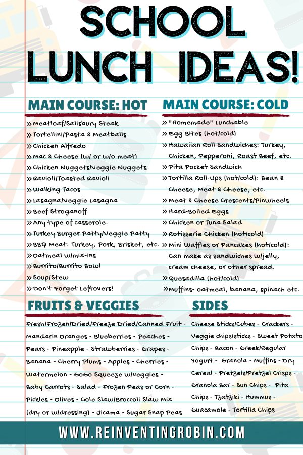 States School Lunch Ideas and lists hot and cold main courses, fruits and veggies and sides.